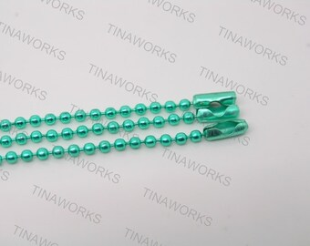 10pcs 18'' Green Ball Chain Necklace 2.4mm Bead Lead Free Best For Scrabble Tiles, Dog Tag, Glass Pendant