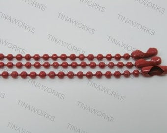30pcs 24'' Red Ball Chain Necklace 2.4mm Bead Lead Free Best For Scrabble Tiles, Dog Tag, Glass Pendant