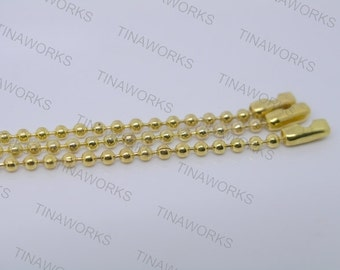30pcs 24'' Golden Ball Chain Necklace 2.4mm Bead Lead Free Best For Scrabble Tiles, Dog Tag, Glass Pendant