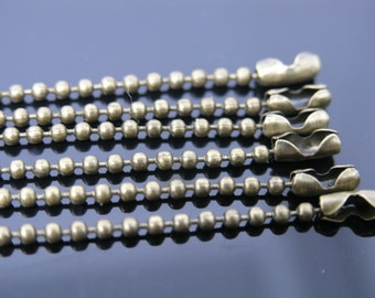 30pcs 24'' Anti-brass Ball Chain Necklace 2.4mm Bead Lead Free Best For Scrabble Tiles, Dog Tag, Glass Pendant