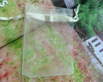 100pcs Cream Organza Gift Bag with Ribbon Draw String--2.75''x3.54''
