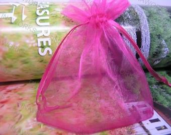 100pcs Rose Organza Gift Bag with Ribbon Draw String--2.75''x3.54''