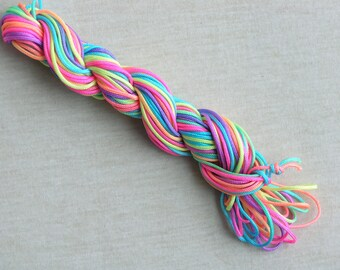 18YD 1.5mm Neon/Rainbow Color Chinese Knotting Cord/Braided Nylon Beading Cord