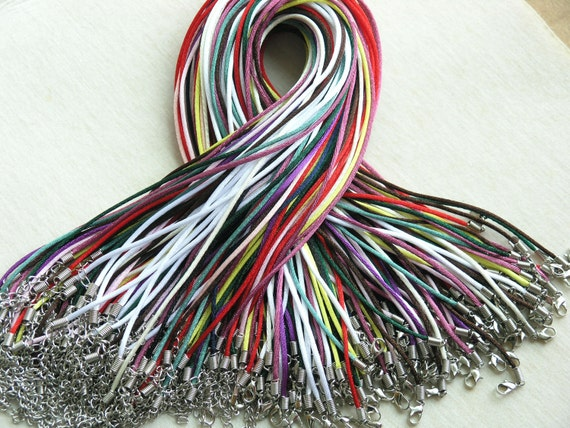 50pcs 18'' Mixed Colors Satin Necklace Cord With Lobster Clasp&5cm Extension Chain size 2.0mm more than 10 colors