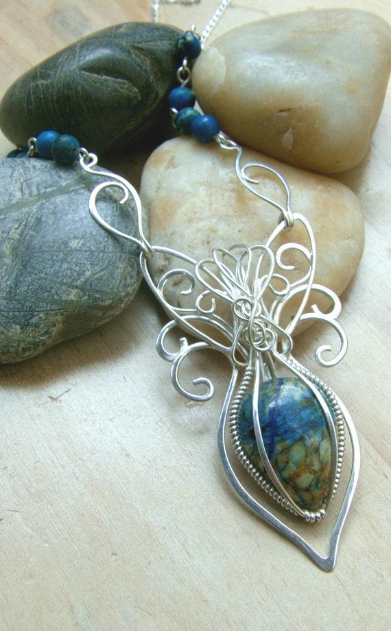 Natural Lapis Lazuli Chrysocolla Wire Wrap Amulet/Pendant Necklace (W11)