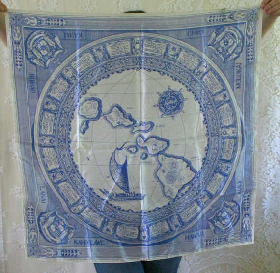 Vintage Silk Scarf // Blue & White with Hawaii Map