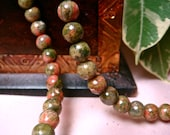 "6mm Round Green Unakite Beads, Item M232 - 12pcs (3"" Strand)"