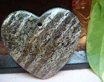 Green Spark Jasper heart green gold pendant bead 39x37x6mm, Item M170