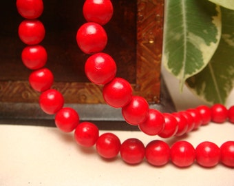 "8mm Round Fire Red Turquoise Howlite beads, Item M106 - 7.5"" Strand"