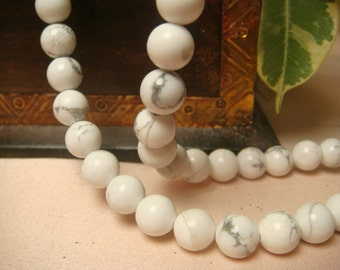 "8mm White Howlite Turquoise beads, Item M184 - 7.5"" Strand"