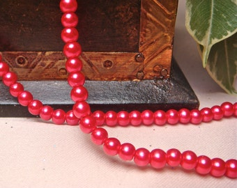 4mm red lampwork glass beads small round beads, Item M283 - 40pcs