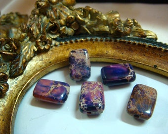 Jasper Beads 8x12mm Rectangle Purple Tan & Pink Sea Sediment , Item M373 - 8 pcs