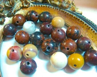 12mm Picasso Jasper Round Gemstone Beads, Item M499 - 20 pcs