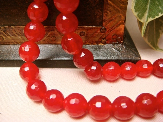 8mm brazilian red ruby faceted round loose beads, Item M272b - 9pcs