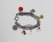 Silver teacher's charm bracelet with gray ribbons