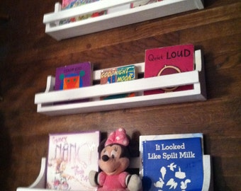 Shelves, Shelf,  Book Shelves, Children, Nursery, Toddler,  Wooden Shelves, Wall Hanging, set of 3 white hanging book shelves