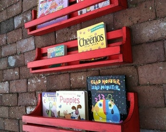 Children's Book Shelves, Shelves, Children's Books, Wall Hanging, Red, Distressed, Reclaimed wood, Toddlers shelf, Books, Boys Room Decor