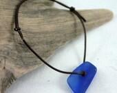 Seaglass, Cobalt Blue, Adjustable Bracelet, Simple, Surfer, Beach Chic Fashion, Beach Glass, Jewelry by LovejoyDesign