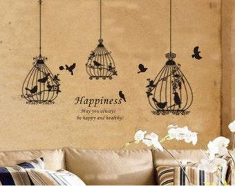 Beautiful Three Birds Cage   Nature Vinyl Wall Paper Decal Art Sticker Q27