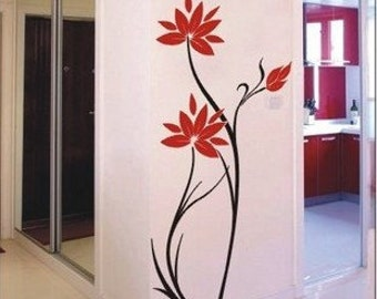 120x60cm Beautiful Flowers   Nature Vinyl Wall Paper Decal Art Sticker Q28