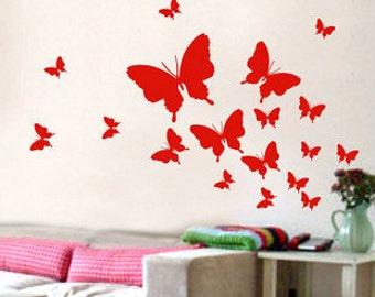 18pcs Fly Butterflies   Nature Vinyl Wall Paper Decal Art Sticker Q164