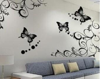 Butterflies Vine   Nature Vinyl Wall Paper Decal Art Sticker Q176