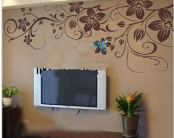 130x60cm Beautiful Flower Vine   Nature Vinyl Wall Paper Decal Art Sticker Q182