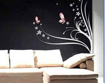 Beautiful Butterflies Flowers Vine  Nature Vinyl Wall Paper Decal Art Sticker Q187