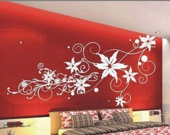 Wide 200cm Beautiful Flowers  Nature Vinyl Wall Paper Decal Art Sticker Q194
