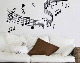 Wide 120cm Beautiful Music Note   Nature Vinyl Wall Paper Decal Art Sticker Q210
