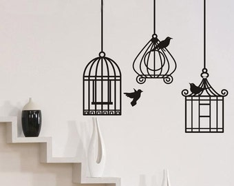 Three Birds Cage  Nature Vinyl Wall Paper Decal Art Sticker Q225