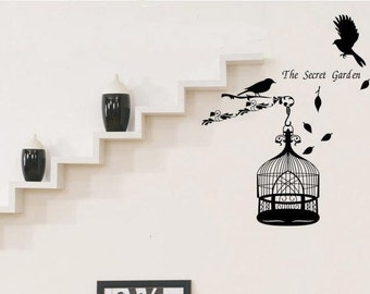 Birds Cage Words  Nature Vinyl Wall Paper Decal Art Sticker Q226