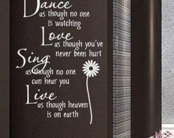 100x65cm Dance-Love-Sing-Live Art Words  Nature Vinyl Wall Paper Decal Art Sticker Q335