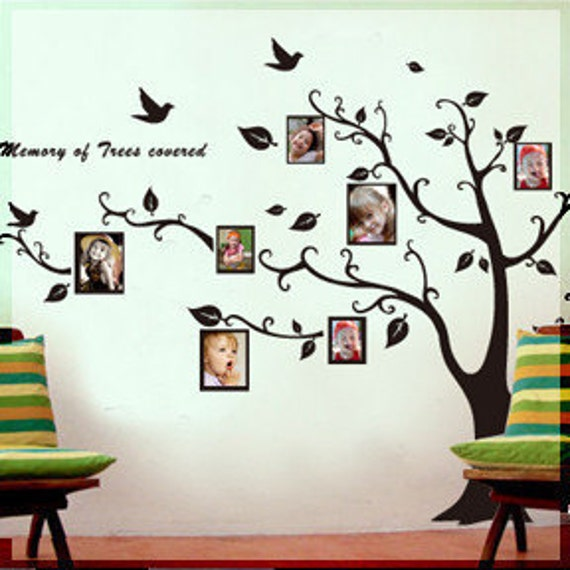 Photo Frame Birds Words Tree  Nature Vinyl Wall Paper Decal Art Sticker Q5