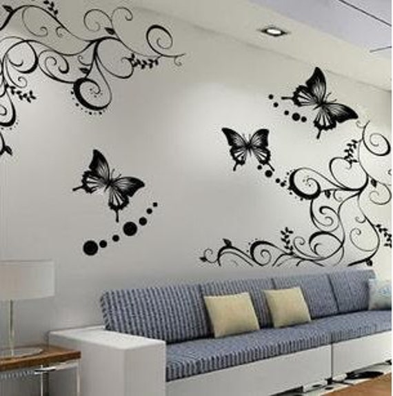 Butterflies Vine   Nature Vinyl Wall Paper Decal Art Sticker Q176