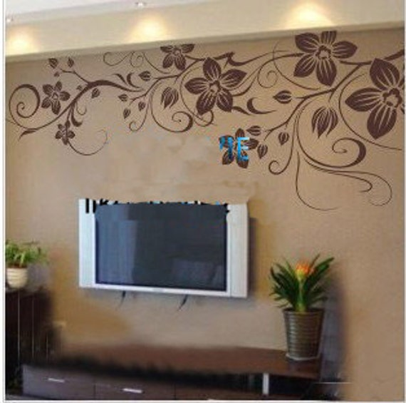 130x60cm Beautiful Flower Vine   Nature Vinyl Wall Paper Decal Art Sticker Q182