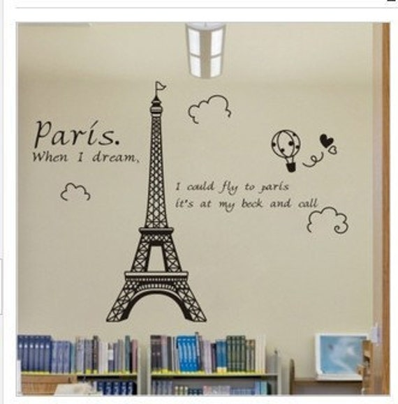 Beautiful Happy Eiffel Tower Paris  Nature Vinyl Wall Paper Decal Art Sticker Q188