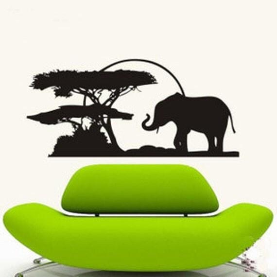 120x56cm Beautiful Cute Elephant Tree  Nature Vinyl Wall Paper Decal Art Sticker Q228