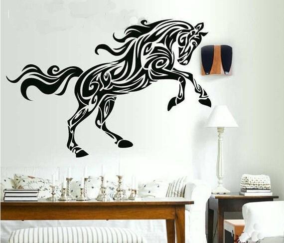 120x72cm horse nature vinyl wall paper decal art sticker q277 for Equestrian wall mural