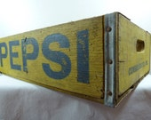 Vintage Wooden Pepsi Crate Yellow and Blue