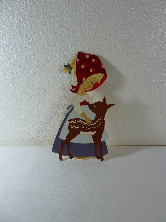 Wooden Alfred Mertens Little Girl With Deer Wall Hanging Made in Western Germany, 1968