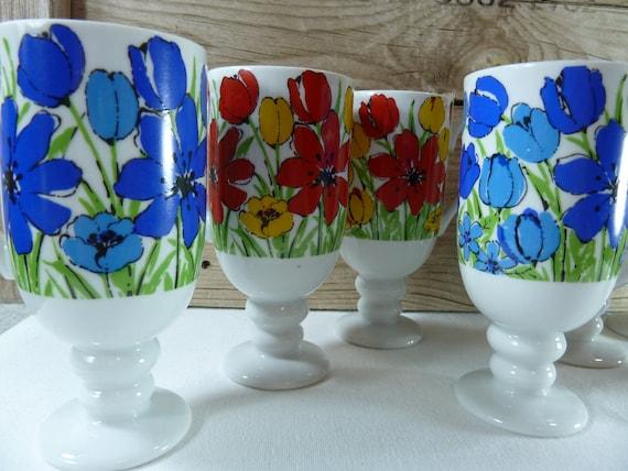 7 Vintage Royal Crown Arnart SmugMug Country Garden by Tina 3937 Pedestal Coffee Cups, Mugs