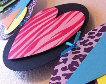 I HEART the 80s Party Banner - Neon Animal Print