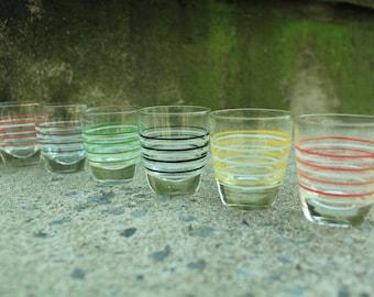 Striped Shot Glasses, Multi-color, Set of 6