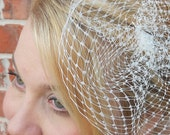 Eliza - Double Layer Birdcage Russian Veiling Cocktail Hat Blusher Ivory, White or Black by Leelee's Bridal Accessories on Etsy
