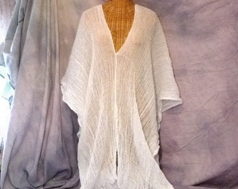 Beach Poncho Midi Cover Up Caftan Dress White Muumuu Sundress Womens Spa One Size Cotton Resort
