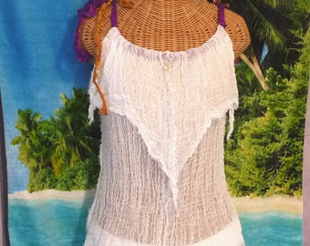 Lighthouse Tank Top White Cotton Spa Pool White Cover Purple Gold Silk Ribbons Up Womens Beachcomber