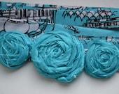Turquoise silk rose headband