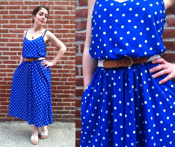 Whimsical Spaghetti Strap Bright Blue and White Polka Dot Maxi Dress with Full Skirt and Pockets Size M-L