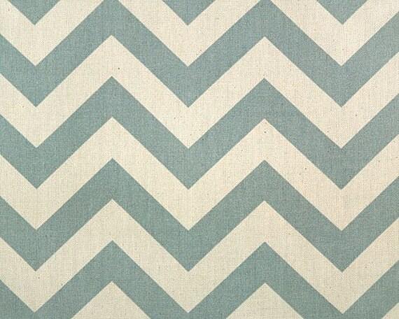 1 yard  Village Blue / Natural  Zig Zag Chevron - Premier Prints -  Decorators Fabric
